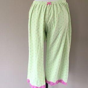 PAJAMA PANTS Polka Dots Cotton Green Pink